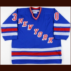 1988-89 Chris Nilan New York Rangers Pre-Season Game Worn Jersey - The Chris Chelios Collection - Chris Chelios Letter