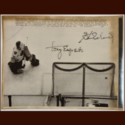 Tony Esposito and Henri Richard 8x10 B&W Autographed Wire Photo – Stanley Cup Winning Goal