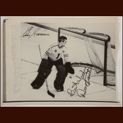 Ed Giacomin and Dean Prentice 8x10 B&W Autographed Wire Photo