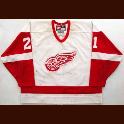 1996-97 Bob Errey Red Wings Game Worn Jersey - Team Letter