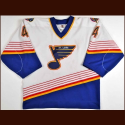 1997-98 Marc Bergevin St. Louis Blues Game Worn Jersey - Team Letter