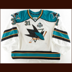 "2012-13 Antti Niemi San Jose Sharks Game Worn Jersey – ""George"" - NHL Wins Leader - Photo Match"