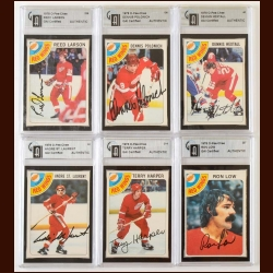 Lot of (6) 1978-79 OPC Detroit Red Wings Autographed Cards – GAI Certified