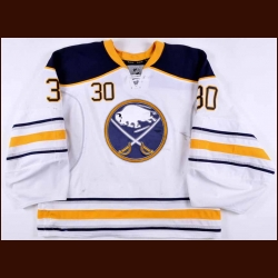 2012-13 Ryan Miller Buffalo Sabres Game Worn Jersey – Boston Strong Night - Photo Match – Video Match
