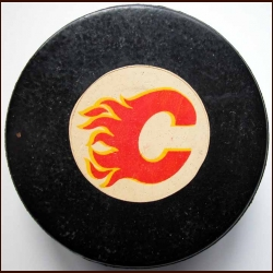 Calgary Flames Old Style Logo Puck
