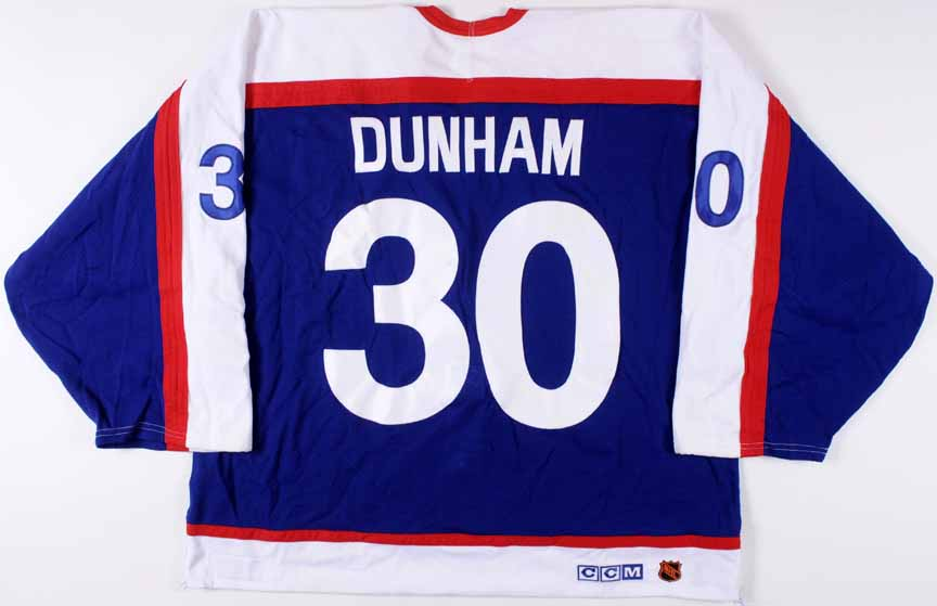 free shipping fdb79 d74ad 2003-04 Mike Dunham New York Rangers Game Worn Jersey ...