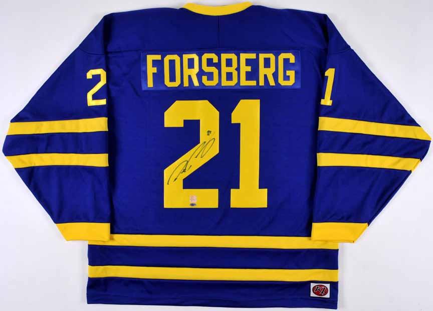 Peter Forsberg Team Sweden Autographed Replica Jersey - 3 ...