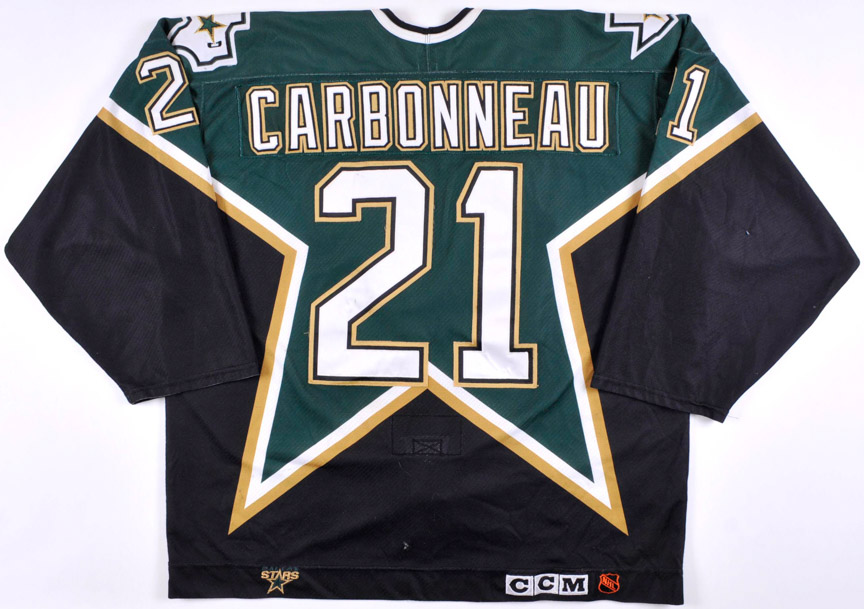 1998-99 Guy Carbonneau Dallas Stars Stanley Cup Finals Game Worn Jersey - The Guy Carbonneau Collection â â1999 Stanley Cup Finalsâ - Photo Match - Guy Carbonneau Letter