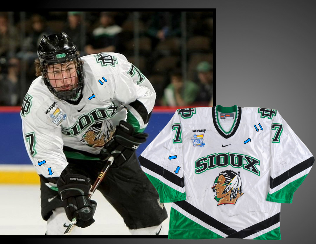 2007-08 T.J. Oshie University of North Dakota Game Worn Jersey ... ca7ea384cc0