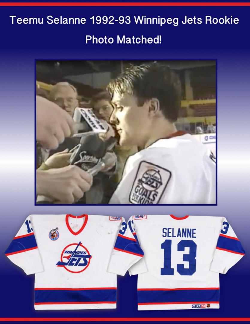 super popular c0667 627b8 1992-93 Teemu Selanne Winnipeg Jets Game Worn Jersey ...