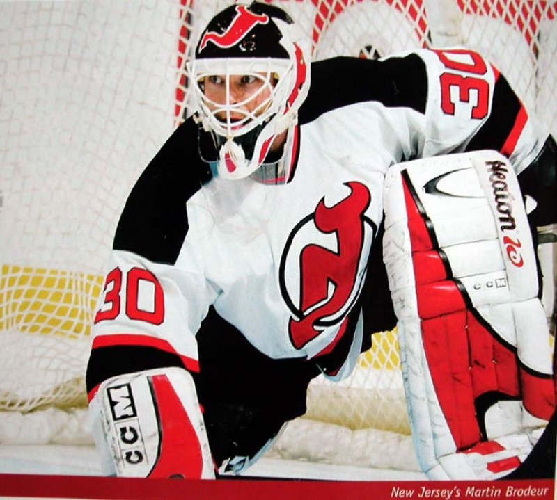 2002-03 Martin Brodeur Game Worn Goalie Pads - Photo Matched