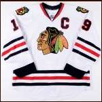 2012-13 Jonathan Toews Chicago Blackhawks Game Worn Jersey - Stanley Cup Season - Selke Trophy - Photo Match - Team Letter