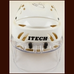 Petr Sykora Anaheim Mighty Ducks White Itech Game Worn Helmet – Itech Faceshield – 10-year Anniversary - Autographed