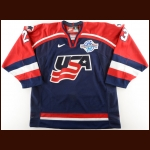 2004 Mathieu Schneider Team USA World Cup of Hockey Game Issued Jersey – Team USA Letter
