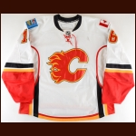 2007-08 Mark Smith Calgary Flames Game Worn Jersey - Photo Match - Team Letter