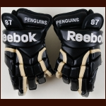 Sidney Crosby Pittsburgh Penguins Black Reebok Game Issues Gloves