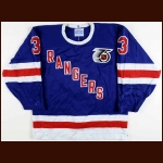 1991-92 James Patrick New York Rangers Turn Back The Clock Game Worn Jersey - 71 Point Season - Photo Match