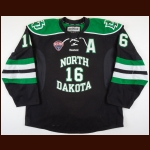 2016-17 Brock Boeser University of North Dakota Game Worn Jersey – Alternate - Photo Match – Team Letter