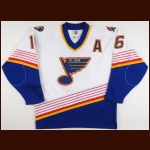1997-98 Brett Hull St. Louis Blues Game Worn Jersey – Team Letter