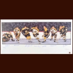 Boston Bruins Limited Edition Lithograph - Autographed By 7 Hall of Famers