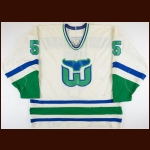 1990-91 Ulf Samuelsson Hartford Whalers Game Worn Jersey - Photo Match