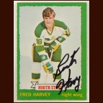 "1973-74 OPC Fred ""Buster"" Harvey Minnesota North Stars Autographed Card – Deceased"