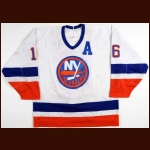 1987-88 Pat LaFontaine New York Islanders Game Worn Jersey - Photo Match