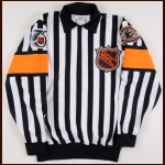 "1991-92 Denis Morel Referee Worn Jersey – The Patrick Roy Collection – ""43rd NHL All Star Game"" - Patrick Roy Letter"