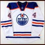 2011-12 Taylor Hall Edmonton Oilers Game Worn Jersey - Team Letter