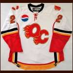 "2007-08 Adam Pardy Quad City Flames Game Worn Jersey - ""Pepsi"" - AHL Letter"