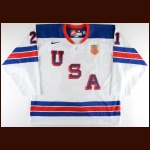 2016 Ryan Hitchcock Team USA World Junior Championships Game Worn Jersey – USA Hockey Letter