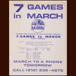1972-73 WHA New York Raiders Advertising Poster - 7 Games In March