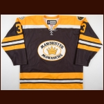 "2010-11 Jake Muzzin Manchester Monarchs Game Worn Jersey – Throwback Alternate - ""75-year Anniversary"" – Team Letter"