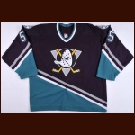 2003-04 Garrett Burnett Anaheim Mighty Ducks Game Worn Jersey – Rookie – Team Letter