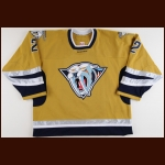 2005-06 Dan Hamhuis Nashville Predators Game Worn Jersey – Alternate - Team Letter