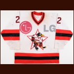 1997 Albert Leschev UCKA Central Red Army Russian Penguins Game Worn Jersey