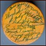 1964-65 Detroit Red Wings Team Signed Original Six Puck - 19 Signatures
