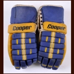 Gilbert Perreault Buffalo Sabres Blue and Gold Cooper Game Worn Gloves - 1970's