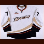"2013-14 Devante Smith-Pelly Anaheim Ducks Game Worn Jersey – ""20-year Anniversary"" - Photo Match – Team Letter"