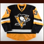 2014-15 Nick Spaling Pittsburgh Penguins Game Worn Jersey – Alternate - Photo Match – Team Letter