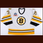 1988-90 Andy Moog Boston Bruins 1990 Stanley Cup Finals Game Worn Jersey - William M. Jennings Trophy - Photo Match