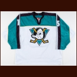 1997-98 Dmitri Mironov Anaheim Mighty Ducks Game Worn Jersey – Alternate - All Star Season - Photo Match