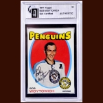 1971-72 Bob Woytowich Pittsburgh Penguins Autographed Card - GAI Certified - Deceased