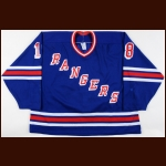 Early 1990's Brian McReynolds New York Rangers Pre-Season Game Worn Jersey – Team Letter