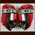 Brian Gionta New Jersey Devils Red & Black CCM Game Worn Gloves – Team Letter