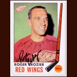1969-70 Roger Crozier Detroit Red Wings Autographed Card - Deceased