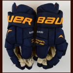 David Backes St. Louis Blues blue Bauer Game Worn Gloves