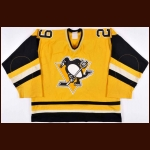 1981-82 Michel Dion Pittsburgh Penguins Game Worn Jersey - Sunday Gold Alternate - All Star Season - Photo Match