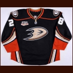 "2013-14 Mark Fistric Anaheim Ducks Game Issued Jersey – Alternate – ""20-year Anniversary"""