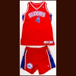 1994-95 Sharone Wright Philadelphia 76ers Game Worn Jersey & Shorts